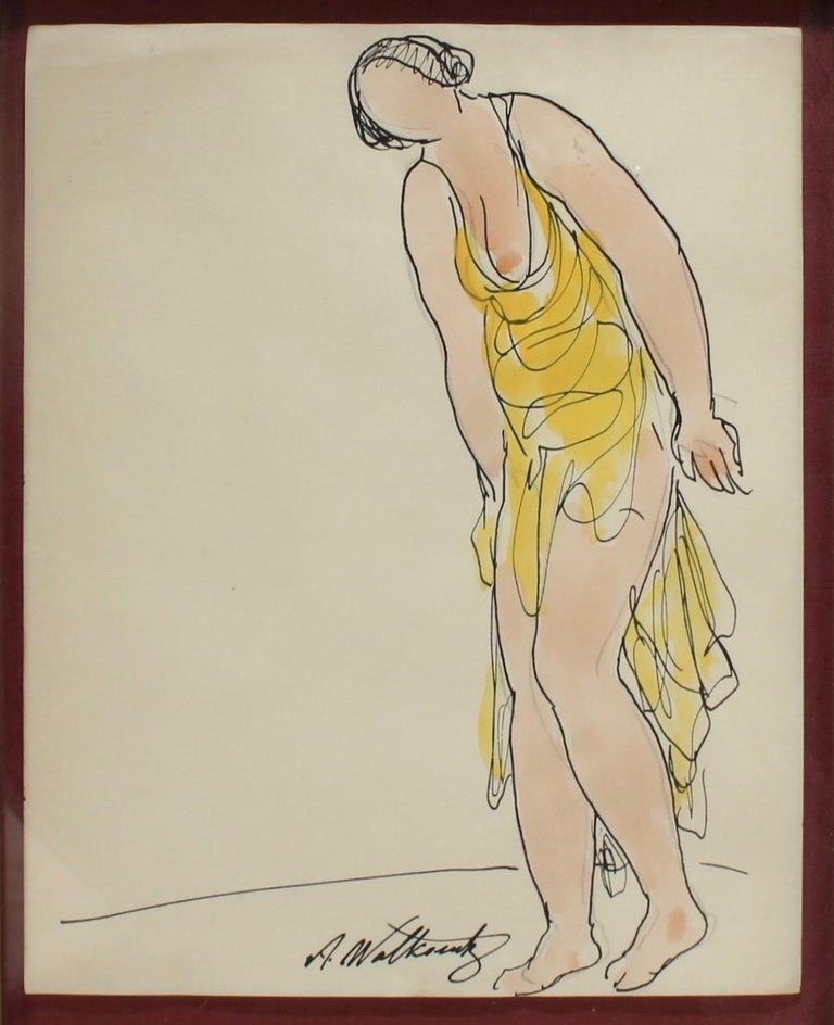 Modern Abraham Walkowitz Ink Drawing of Ballet Dancer Isadora Duncan in Yellow For Sale