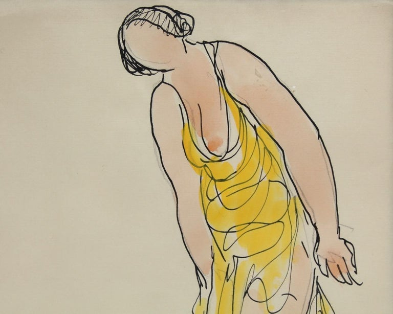 Painted Abraham Walkowitz Ink Drawing of Ballet Dancer Isadora Duncan in Yellow For Sale