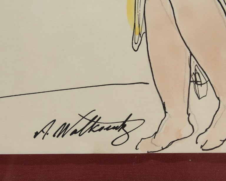 Abraham Walkowitz Ink Drawing of Ballet Dancer Isadora Duncan in Yellow In Good Condition For Sale In Philadelphia, PA