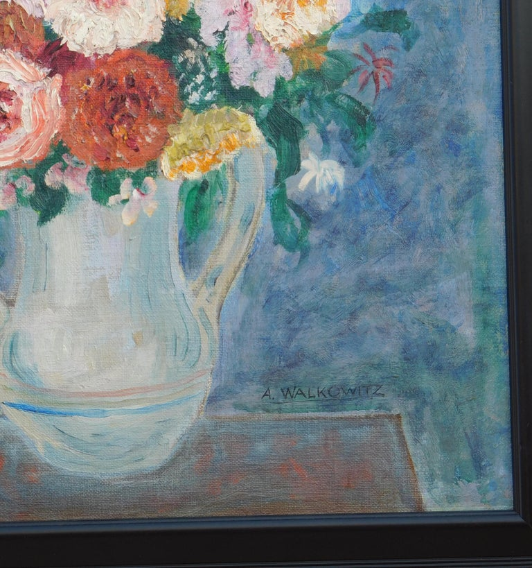 20th Century Abraham Walkowitz Modernist Floral Still-Life Painting, circa 1915-1920 For Sale