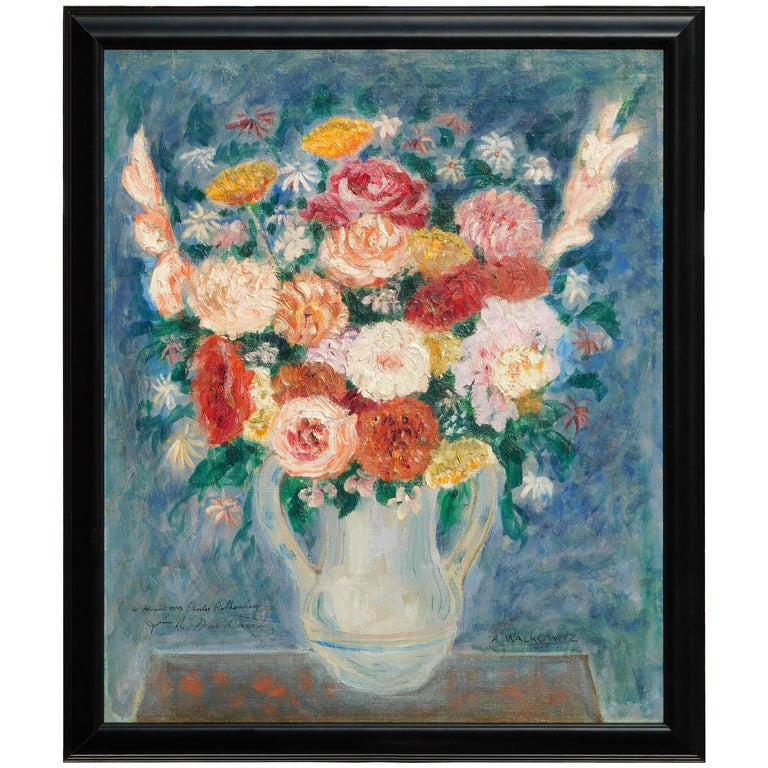 Abraham Walkowitz Modernist Floral Still-Life Painting, circa 1915-1920 For Sale