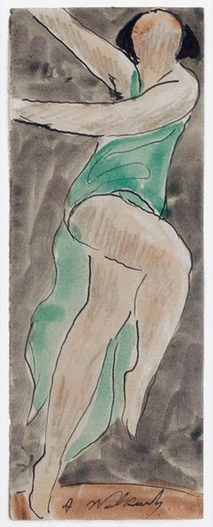 """""""Isadora Duncan Dancing #3,"""" Watercolor and Ink signed by Abraham Walkowitz"""