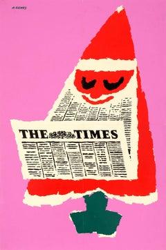 Original Vintage Christmas Tree Santa Design Poster For The Times Newspaper UK