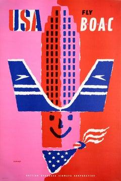 Original Vintage Poster USA Fly BOAC Airline Travel America Midcentury Design