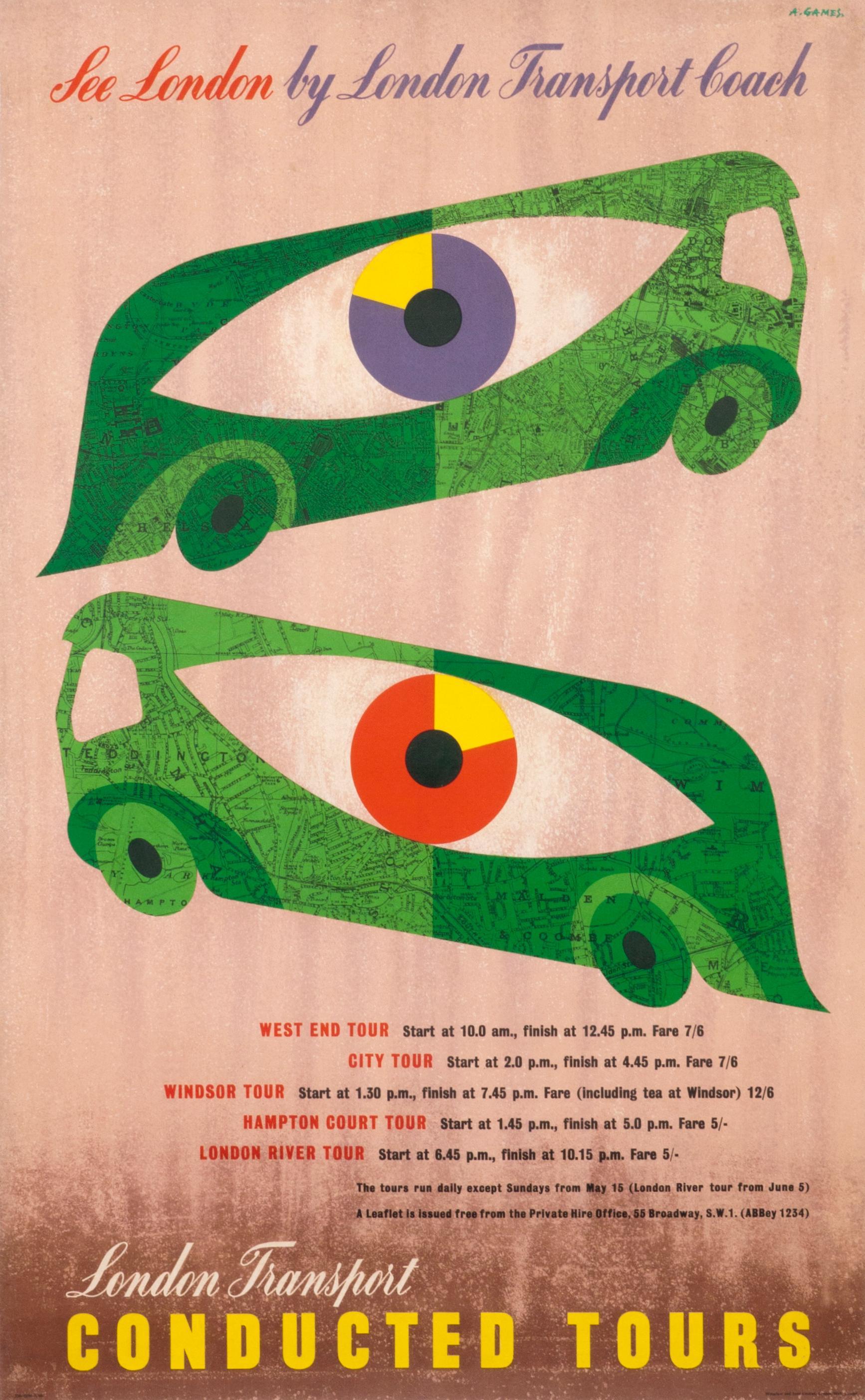 """See London by London Transport Coach"" Original Vintage Tour Poster"