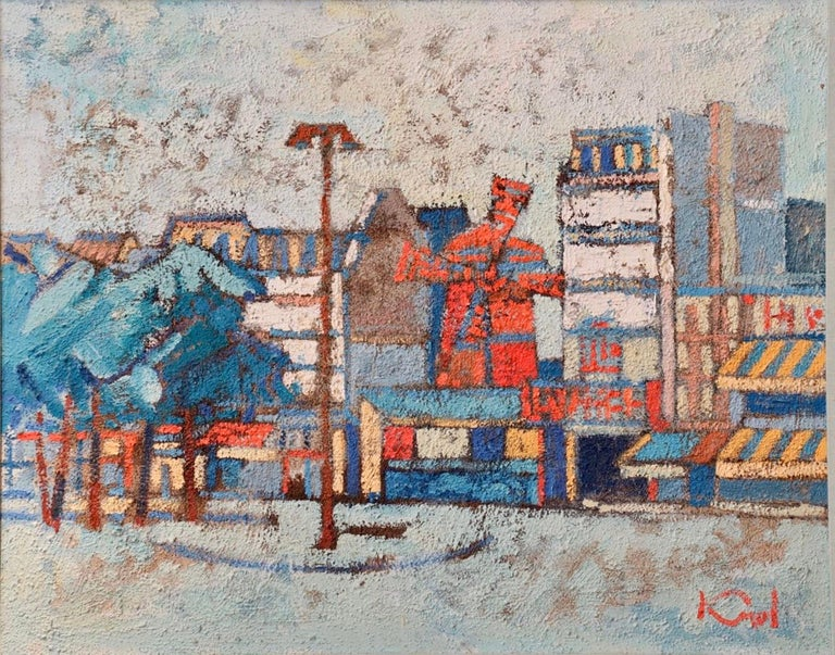 Large Polish French Paris Scene Mid Century Modernist Oil Painting Moulin Rouge - Gray Abstract Painting by Abram Krol