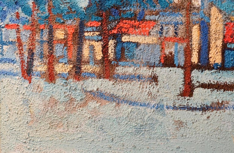 Large Polish French Paris Scene Mid Century Modernist Oil Painting Moulin Rouge For Sale 1