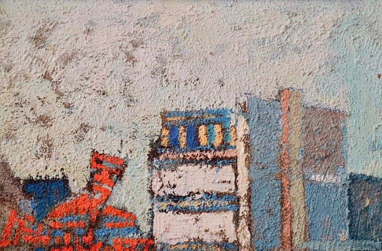 Large Polish French Paris Scene Mid Century Modernist Oil Painting Moulin Rouge For Sale 2