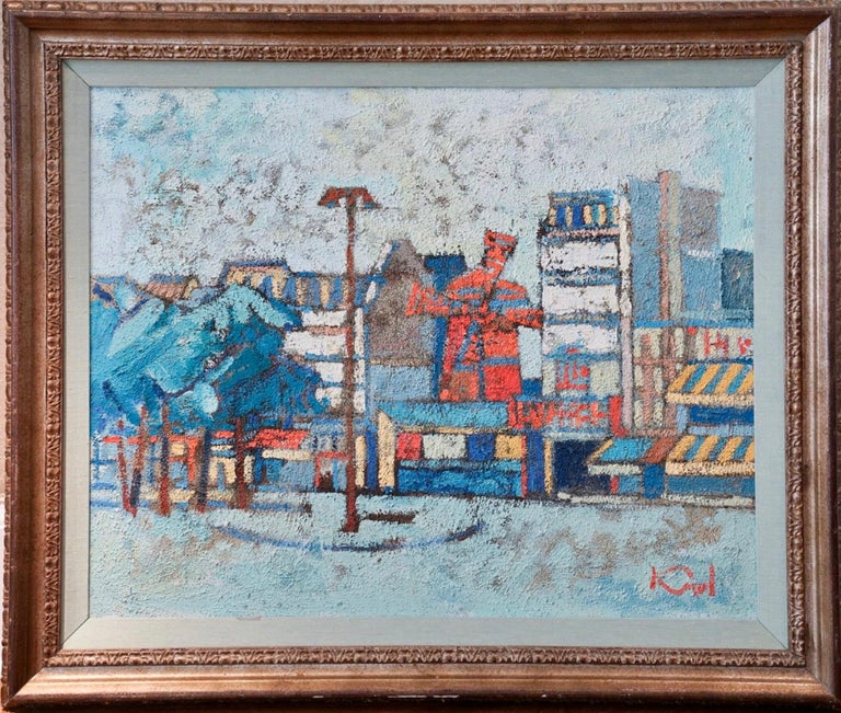 Abram Krol Abstract Painting - Large Polish French Paris Scene Mid Century Modernist Oil Painting Moulin Rouge