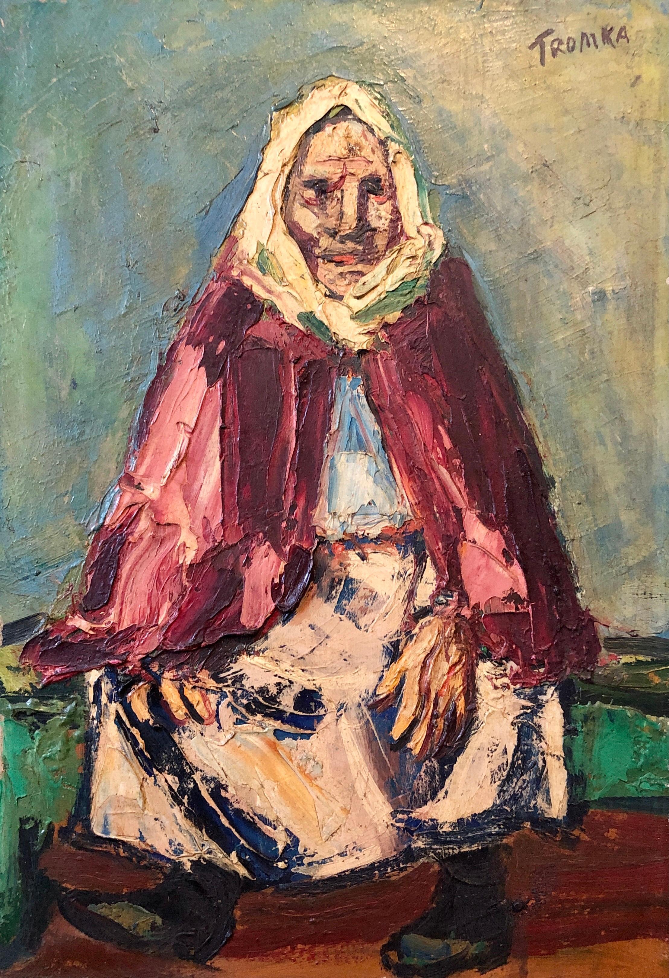 Rare Polish American 1930s Oil Painting Painting WPA Russian Babushka Jewish Art