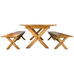 A.Brandt Ranch Oak Mid-Century Modern Table and Benches