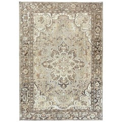 Abrash Flower Chocolate Brown Worn Persian Heriz Oriental Rug
