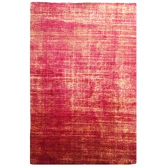 Abrash Red and Gold Silk and Cotton Rug
