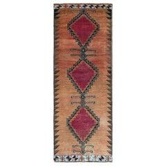 Abrash Vintage Persian Shiraz Worn Down Geometric Design Wool Hand Knotted Rug