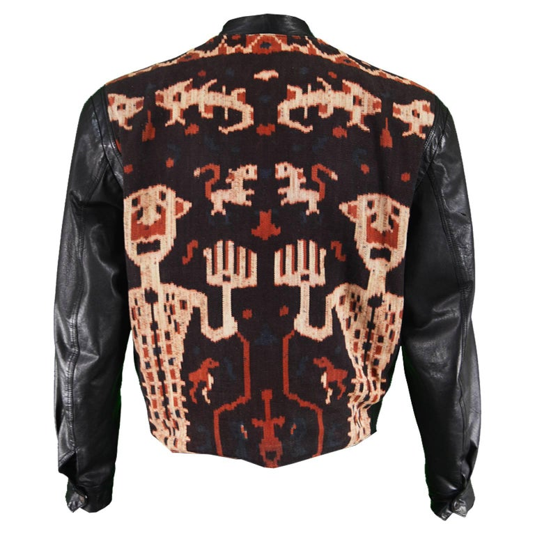 Abrasive Aorta Men's Vintage Leather and Handwoven Ikat Tapestry Jacket, 1980s