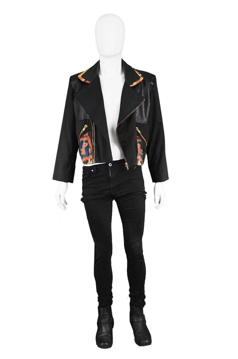 """Abrasive Aorta Men's Vintage Leather and Handwoven Ikat Moto Jacket, 1980s  Estimated Size: Medium to Large. Please check measurements. Chest - 44"""" / 112cm (allow a few inches room for movement) Waist - 35"""" / 89cm Length (Shoulder to Hem) - 21"""" /"""