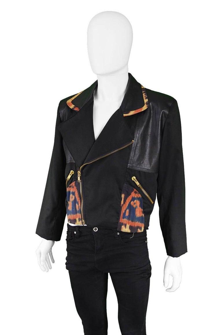 Black Abrasive Aorta Men's Vintage Leather and Handwoven Ikat Biker Jacket, 1980s For Sale