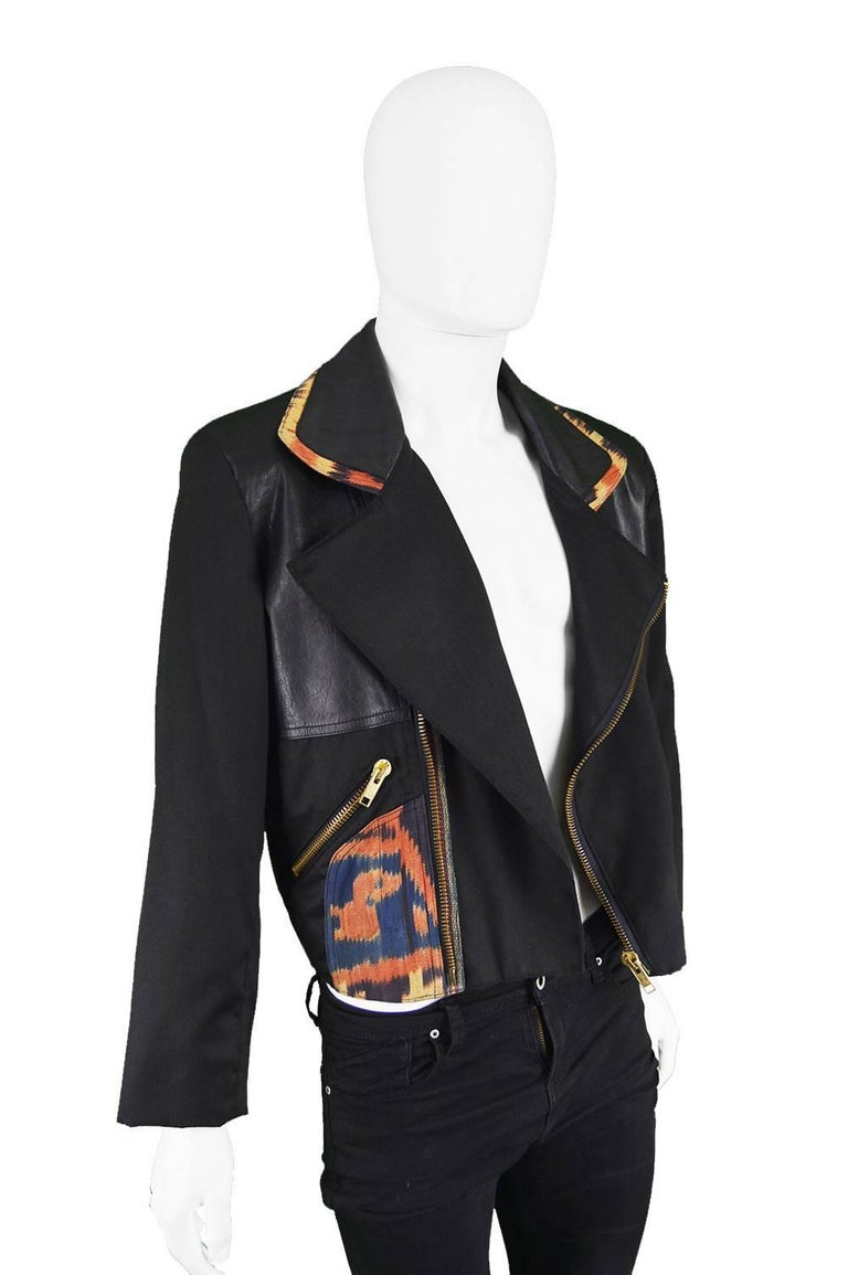 Abrasive Aorta Men's Vintage Leather and Handwoven Ikat Biker Jacket, 1980s In Excellent Condition For Sale In Doncaster, South Yorkshire