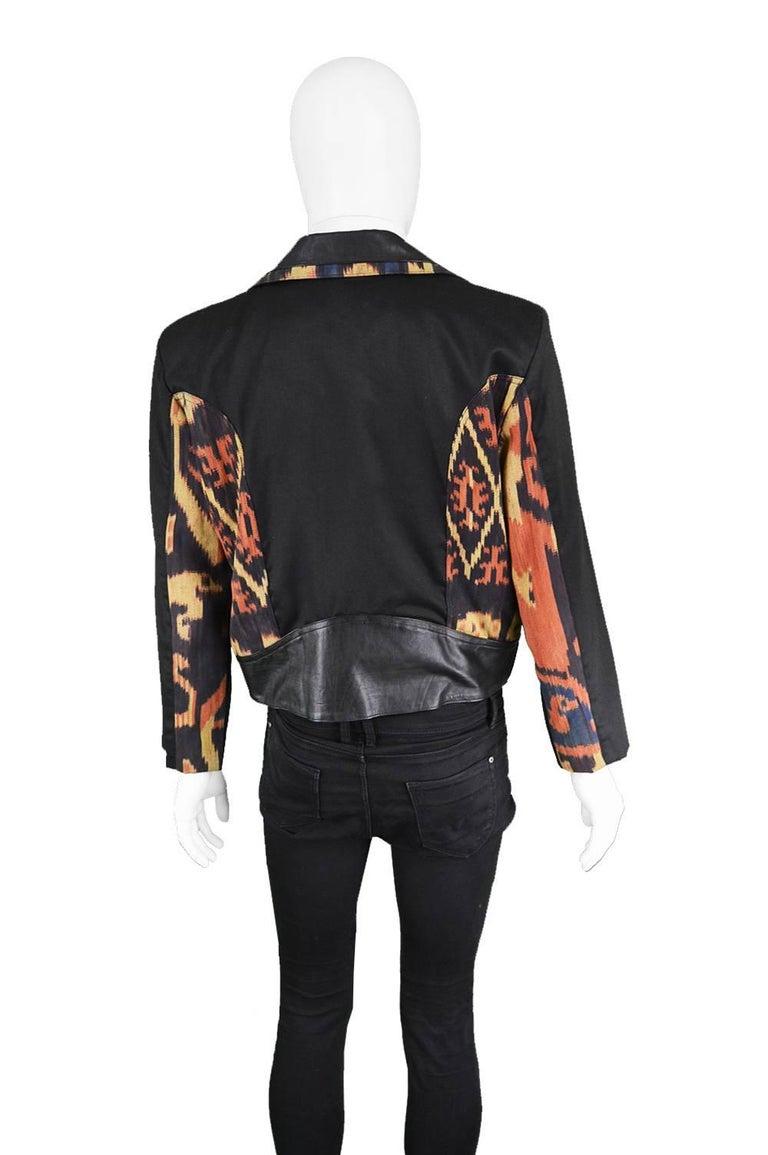 Abrasive Aorta Men's Vintage Leather and Handwoven Ikat Biker Jacket, 1980s For Sale 1
