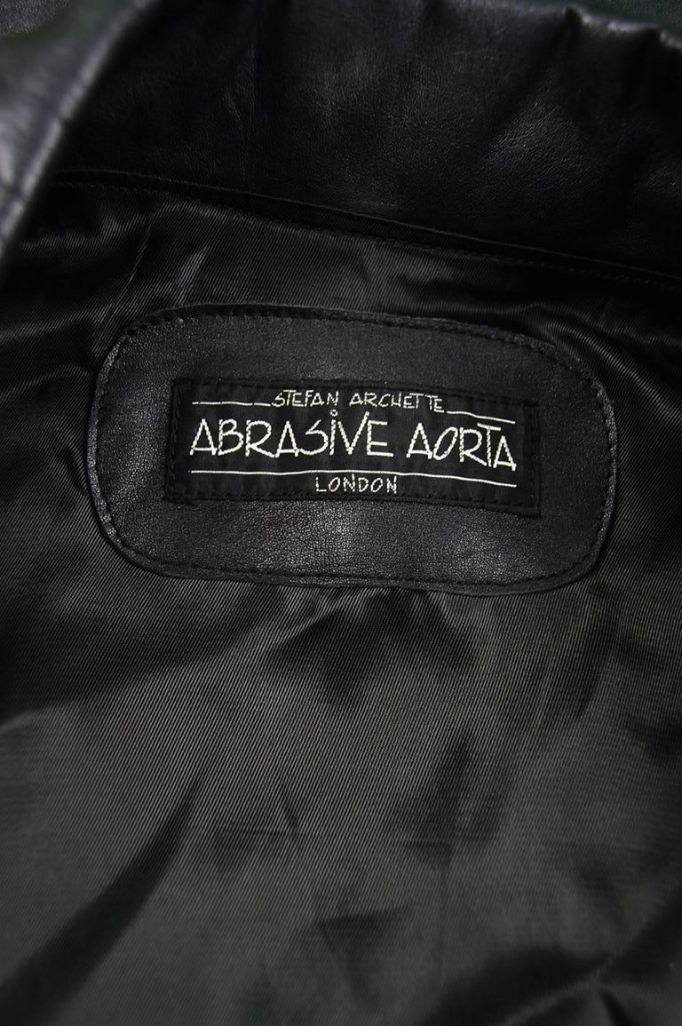 Abrasive Aorta Men's Vintage Leather and Handwoven Ikat Biker Jacket, 1980s For Sale 2