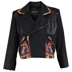 Abrasive Aorta Men's Vintage Leather and Handwoven Ikat Biker Jacket, 1980s
