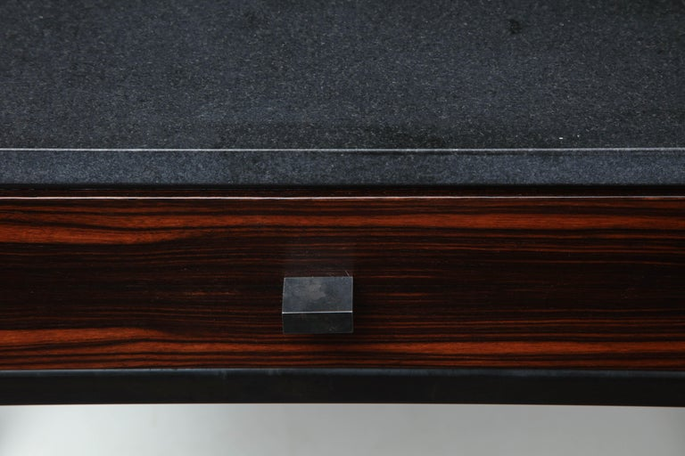 Blackened Absolute Black Granite Side Table For Sale