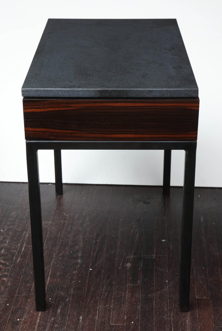 Wood Absolute Black Granite Side Table For Sale