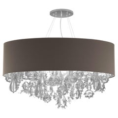 Artistic Suspension Cotton Lampshade multi Crystal Glass details by Multiforme
