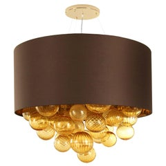 Large Artistic Suspension Lamp Amber Murano Glass, brown Lampshade by Multiforme