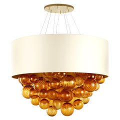 Large Artistic Suspension Lamp Amber Murano Glass, ivory Lampshade by Multiforme