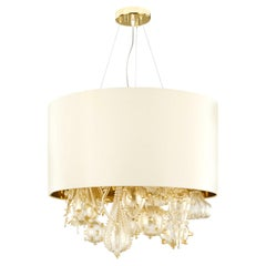 Artistic Suspension Lamp Gold leaf Glass elements, Ivory Lampshade by Multiforme