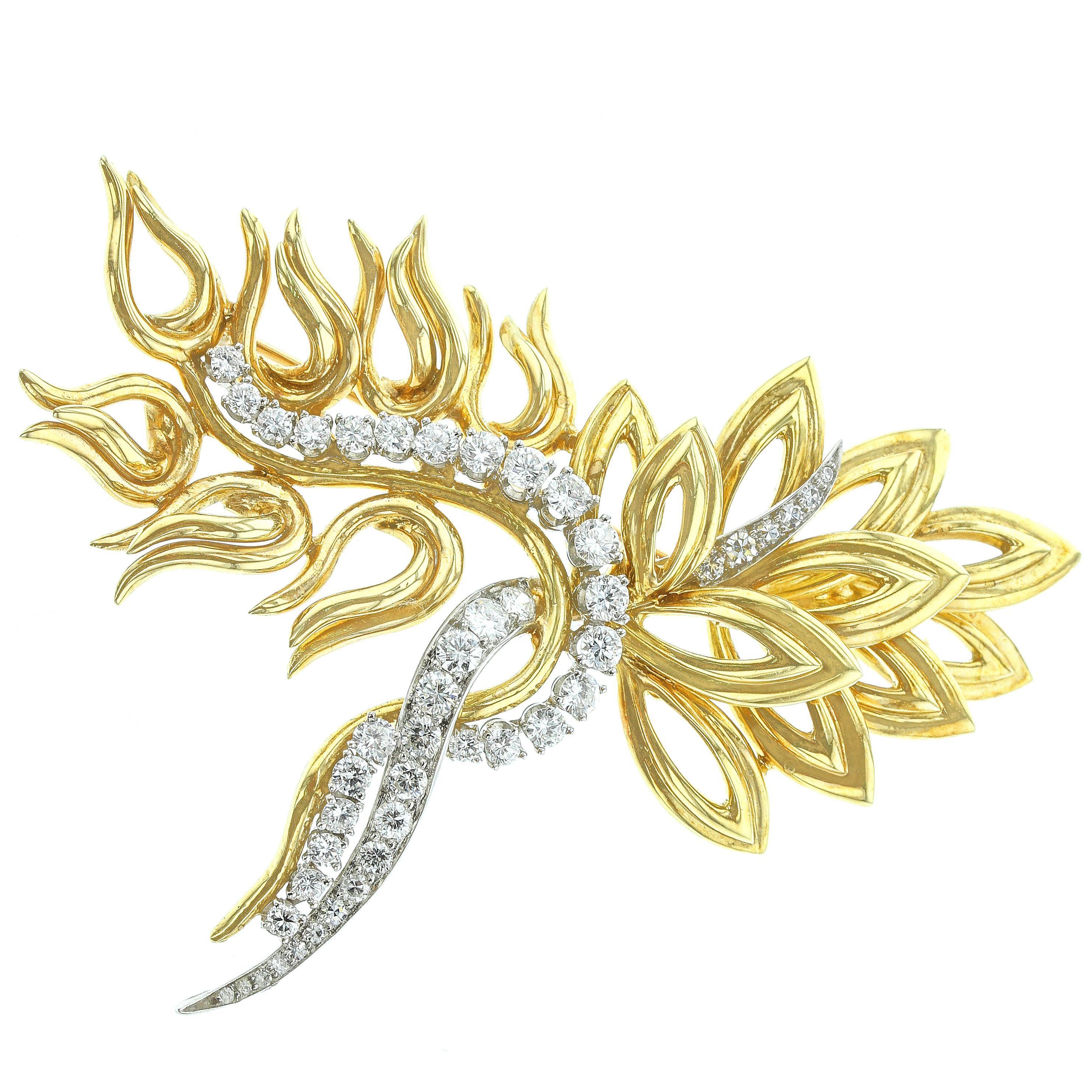Abstract 18 Karat Yellow Gold, Platinum and Diamond Pin Retailed, Harry Winston