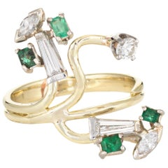 Abstract 1960s Diamond Emerald Ring 14 Karat Gold Organic Branch Vintage Jewelry