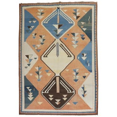 Abstract 20th Century Turkish Geometric Deco Persian Gabbeh Inspired Carpet