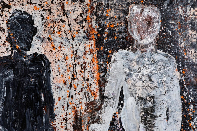 Large abstract acrylic on canvas by well-known Palm Springs base artist, Christopher Shoemaker. Dominated by two large human forms the painting has been done with a spatter painted styled in black, white, orange and oxblood colors.