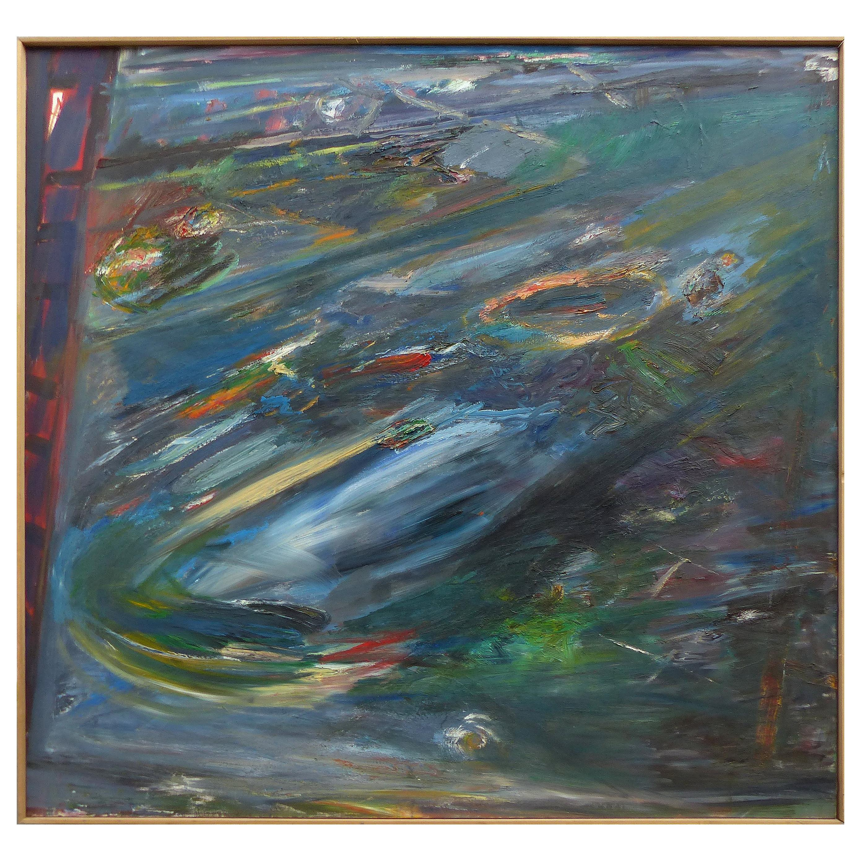Abstract Acrylic on Canvas by Warren Fischer 'American, 1943-2001'
