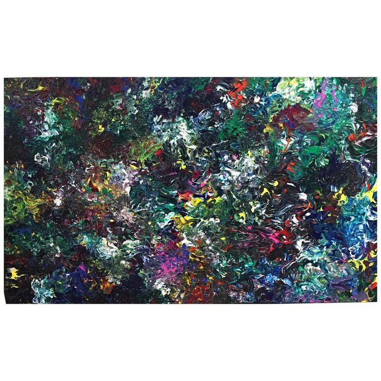 """Abstract Acrylic on Canvas Painting """"Domino Chair"""" by Alexander Hecht For Sale"""