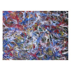 "Abstract Acrylic on Canvas Painting ""Few Minutes Past Nine"" by Alexander Hecht"