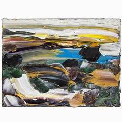 Abstract Acrylic 'Siesta Sunrise Big Sur' Acrylic on Canvas Painting
