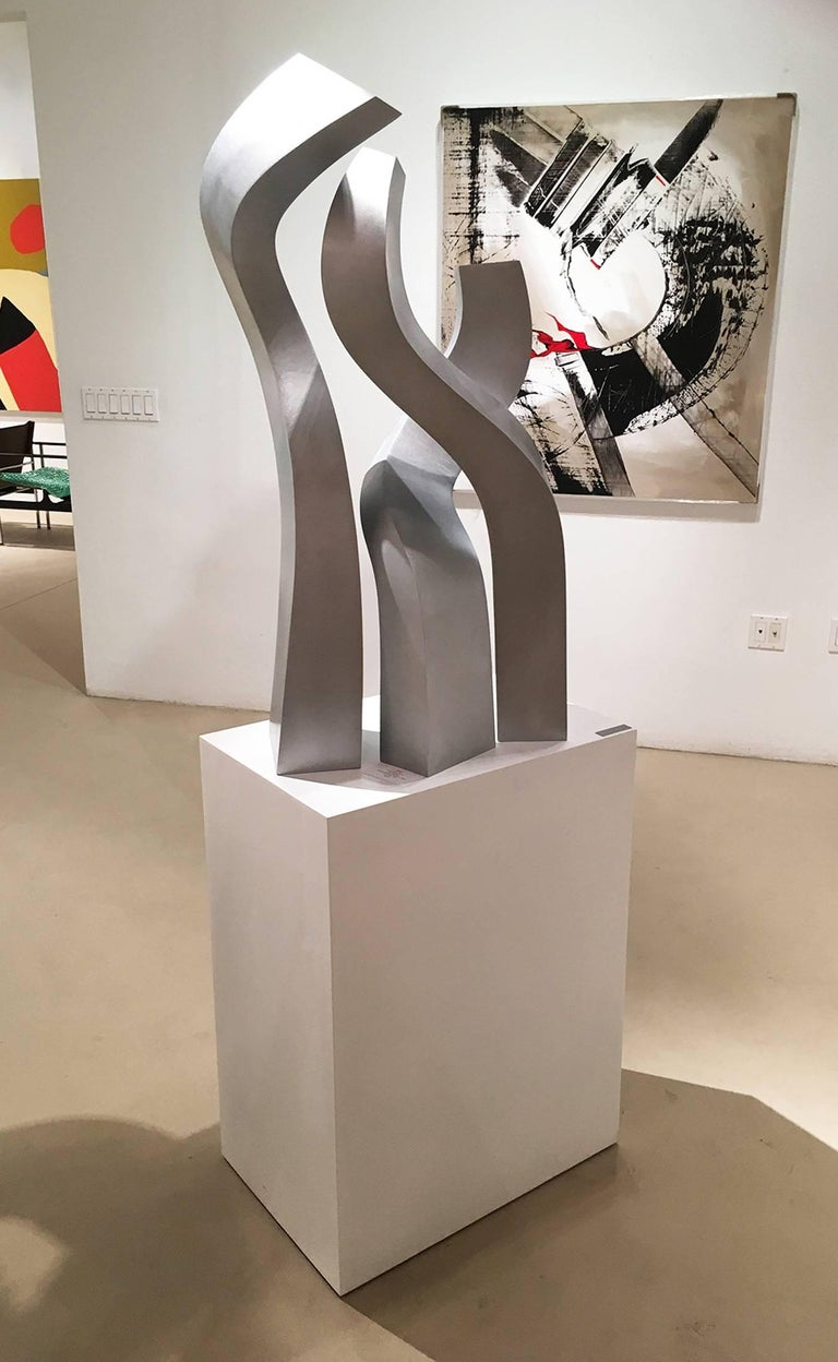 Fired Abstract Aluminium Sculpture by Artist Robert Marion For Sale