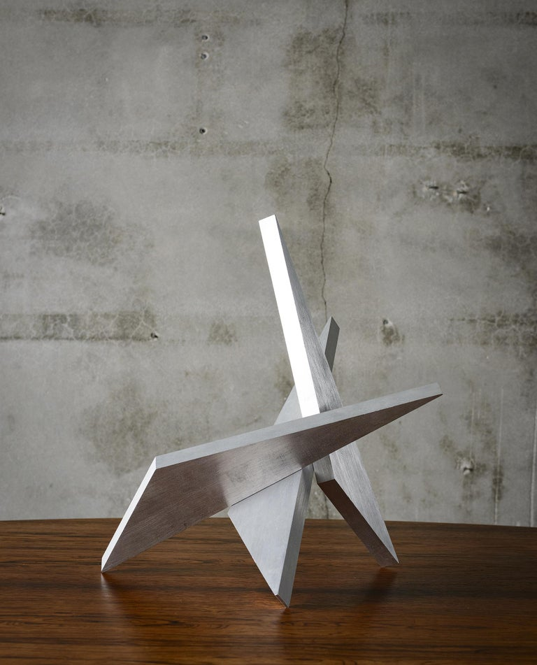 United States: Larry Mohr abstract aluminum sculpture; titled