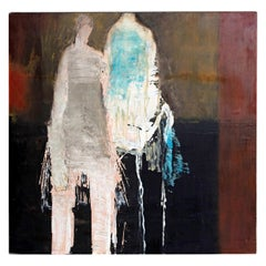 "Abstract and Figurative Oil on Board by Brigitte McReynolds ""Couple in the Blue"""