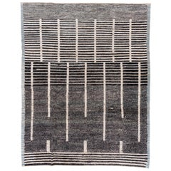 Abstract and Modern Tulu Striped Rug, Black and White Tones