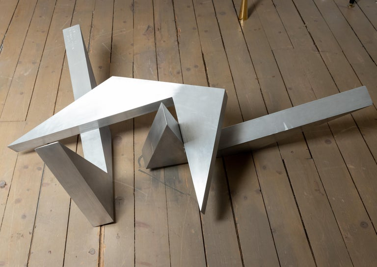 Modern Abstract Angular Brushed Stainless Steel Sculpture by Larry Mohr For Sale