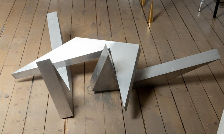 American Abstract Angular Brushed Stainless Steel Sculpture by Larry Mohr For Sale