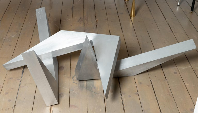 Metalwork Abstract Angular Brushed Stainless Steel Sculpture by Larry Mohr For Sale