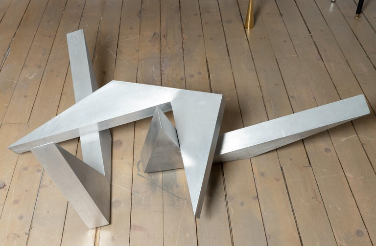 Abstract Angular Brushed Stainless Steel Sculpture by Larry Mohr In Good Condition For Sale In Bridgehampton, NY