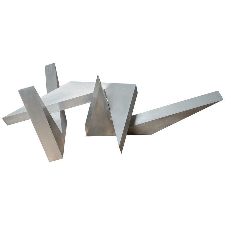 Abstract Angular Brushed Stainless Steel Sculpture by Larry Mohr For Sale