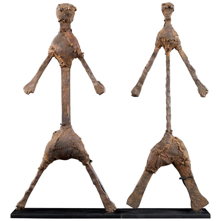 """Abstract Anthropomorphe """"Giacomettian"""" Iron and Leather Figure For Sale"""