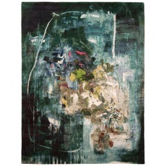 Abstract Art Inspired Green and Blue Wool and Silk Modern Rug